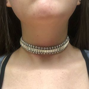 Silve Rhinestone Choker Necklace
